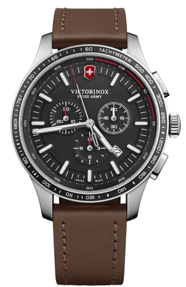 large case Victorinox watch with brown leather strap