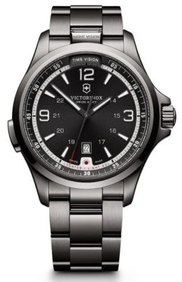 An all-metal night vision watch with black dial