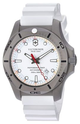 White dial dive watch with red second's hand