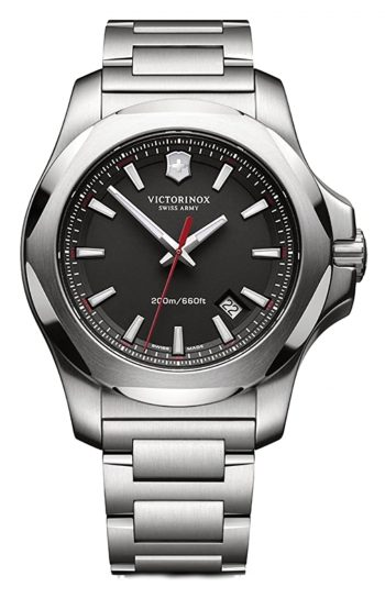 Ultra durable Swiss field watch with metal case and band