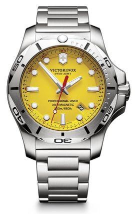 Swiss-made dive watch with yellow dial and metal band
