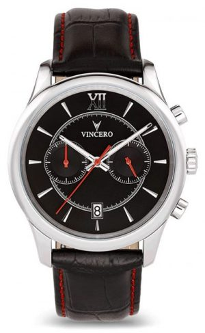 Black and silver Vincero watch
