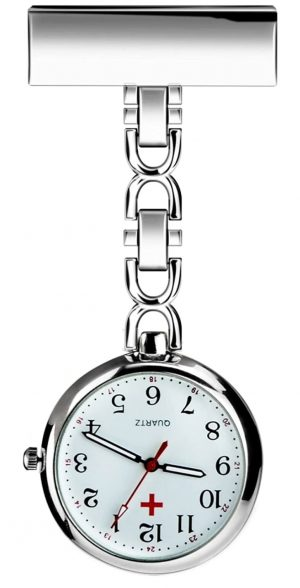 Nurse watch with a pin and metal chain