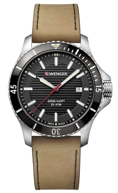 Wenger dive watch with black face and red second hand