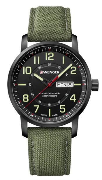 Swiss military watch with green canvas strap